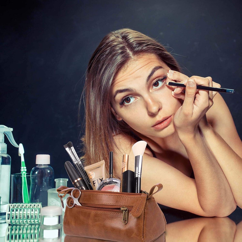 Id/éal pour Le Rangement du Maquillage Moonster Trousse de Maquillage Femme en Vrai Cuir Trousse de Toilette Femme Styl/é Tient dans Votre Sac /à Main pour Un Usage Quotidien