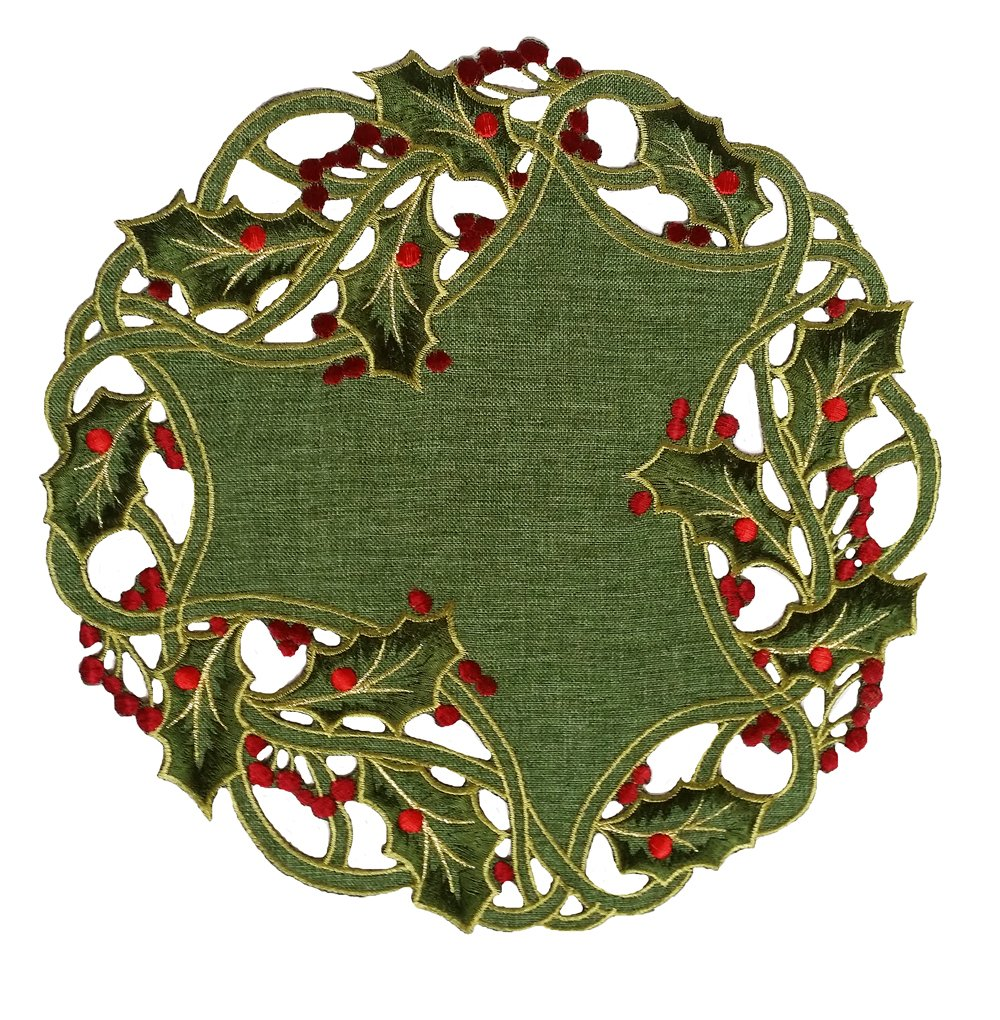 Xia Home Fashions Holiday Holly Embroidered Cutwork Christmas Doilies, 12-Inch Round, Green, Set of 4