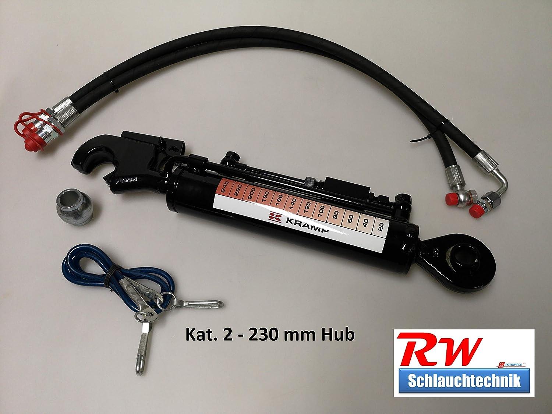 2 R/ückschl Ventil Hydraulischer Oberlenker Kat gest Schl/äuche 230 mm Hub incl