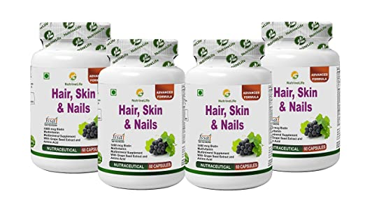 NutrineLife Biotin Hair Skin Nails Supplement for Healthy Hair Growth, Skin Nourishment and Nail Strength - 60 Veg Capsules (Pack of 4) Vitamins, Minerals & Supplements at amazon