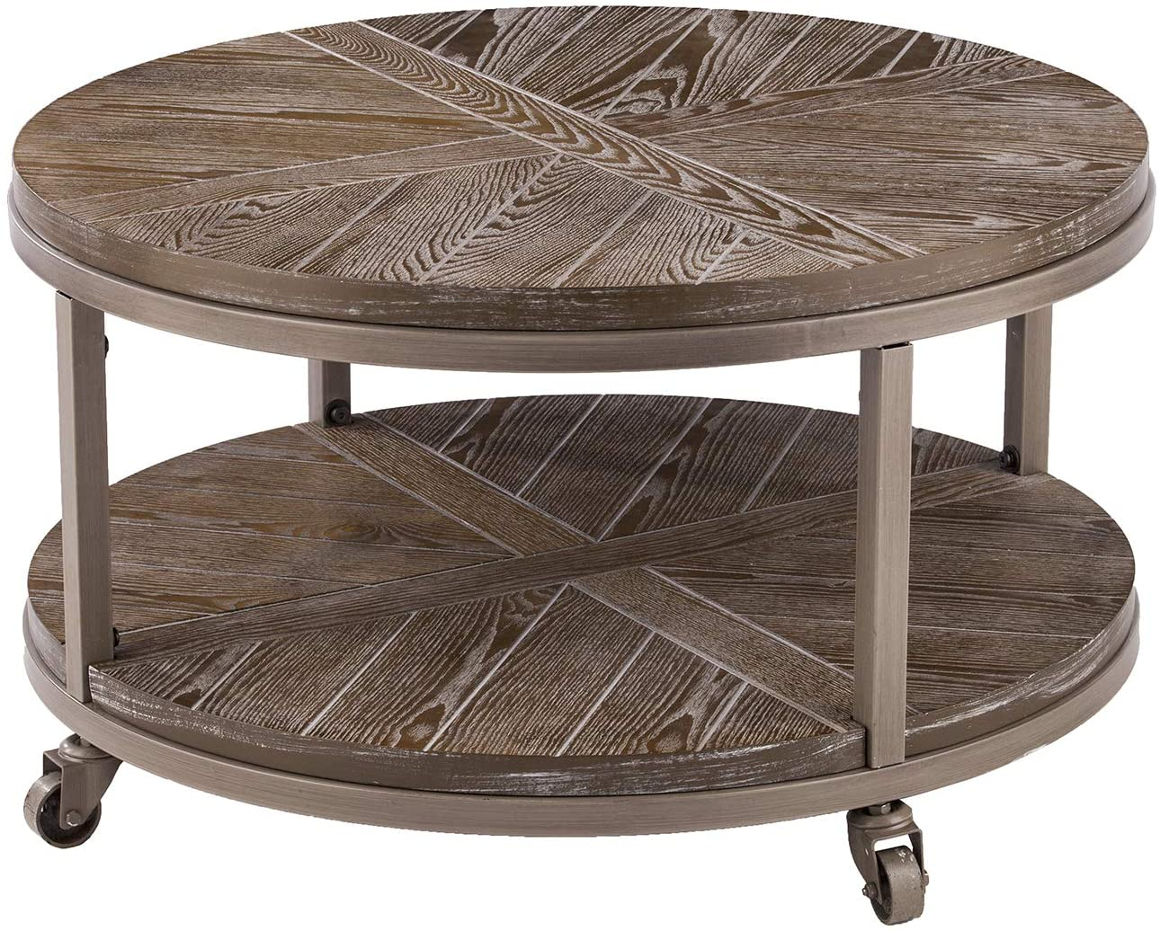 Amazon Com Konya Urban Industrial Round Cocktail Table Kitchen