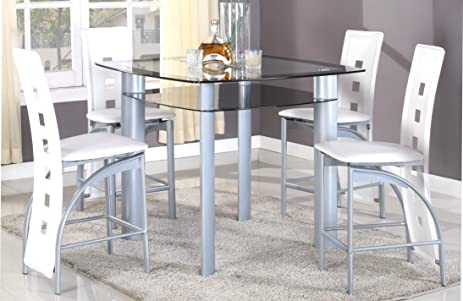GTU Furniture 5pc Modern Glass Top Metal Counter Height Dining Room Table  Set, 1 Table