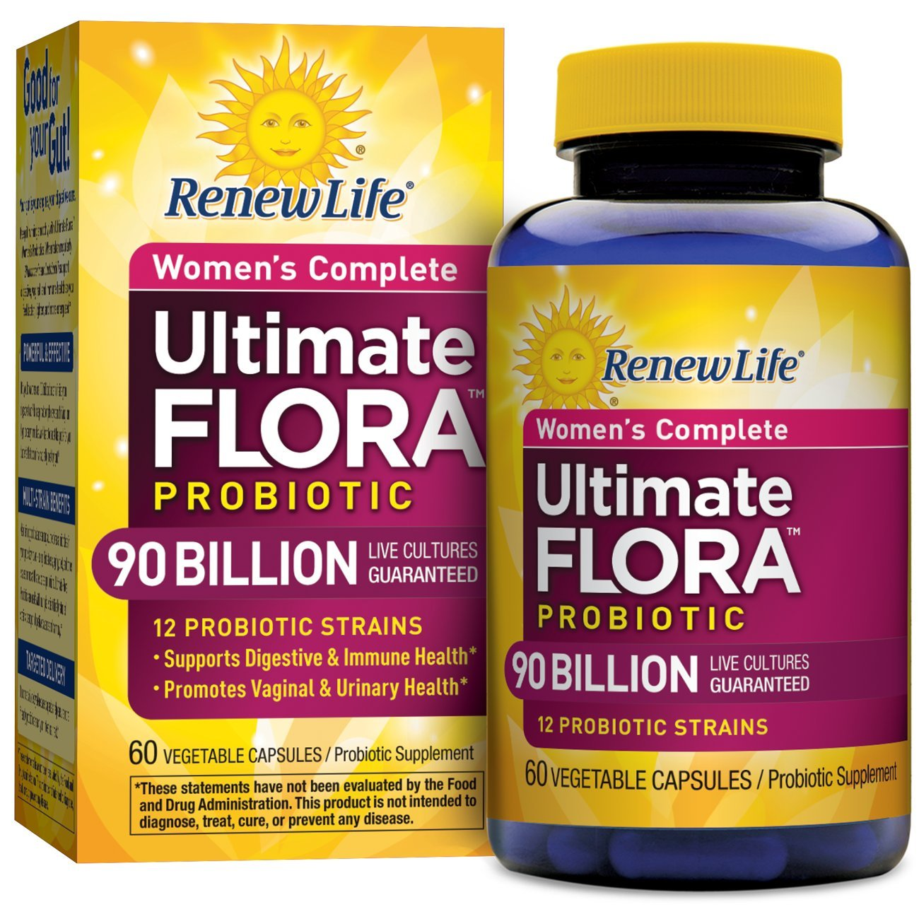 Renew Life - Ultimate Flora Probiotic Women's Complete - 90 billion - probiotics for women - daily digestive and immune health supplement - 60 vegetable capsules