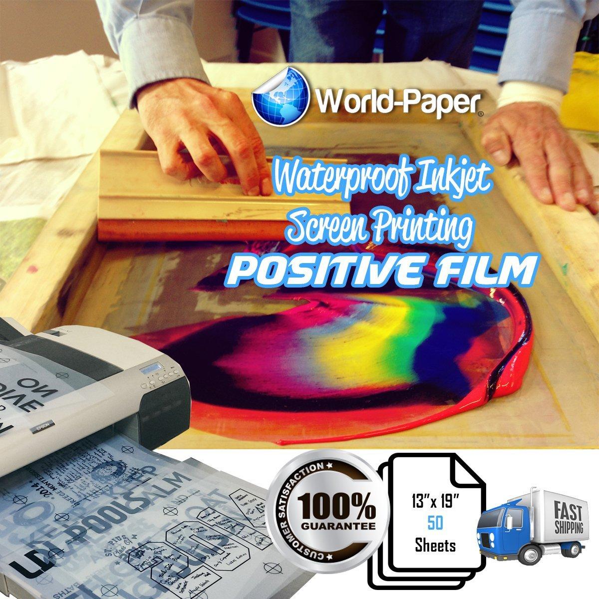 50 Sheets 100micron WaterProof Inkjet Transparency Silk Screen Film 13'' x 19'' by world-paper