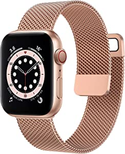 OUHENG Compatible with Apple Watch Bands 40mm 38mm 44mm 42mm, Magnetic Stainless Steel Mesh Loop Metal Band Strap for iWatch Series 6/5/4/3/2/1 SE (Rose Gold, 40mm 38mm)