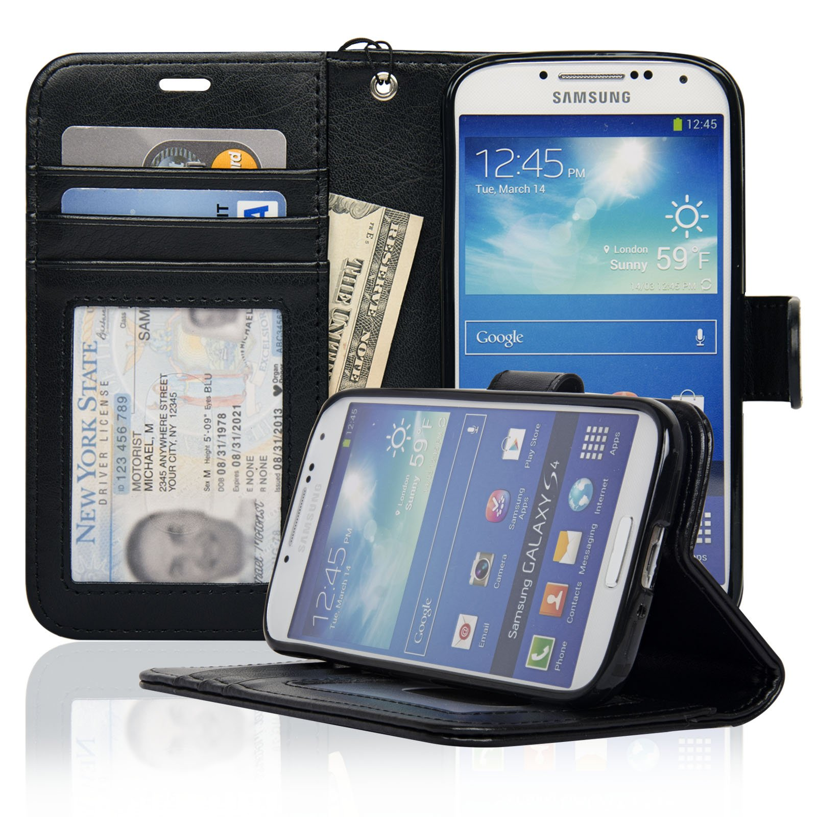Navor Protective Flip Wallet Case for Samsung Galaxy S4 - Black (S4O-BK)