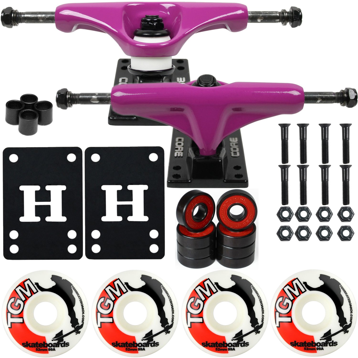 CORE Skateboard Package 5.0'' Trucks 52mm with White Wheels + Components (Purple Hanger/Black Base) by CORE