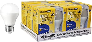 Miracle LED Yellow Bug Light MAX - Replaces 100W - A19 Outdoor Bulb for Porch and Patio - 12 Pack (604975)