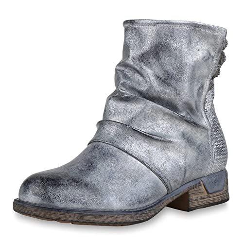 SCARPE VITA Leicht Gefütterte Damen Biker Boots Metallic Stiefeletten  Nieten 149698 Silber 36 9b5de5eac7