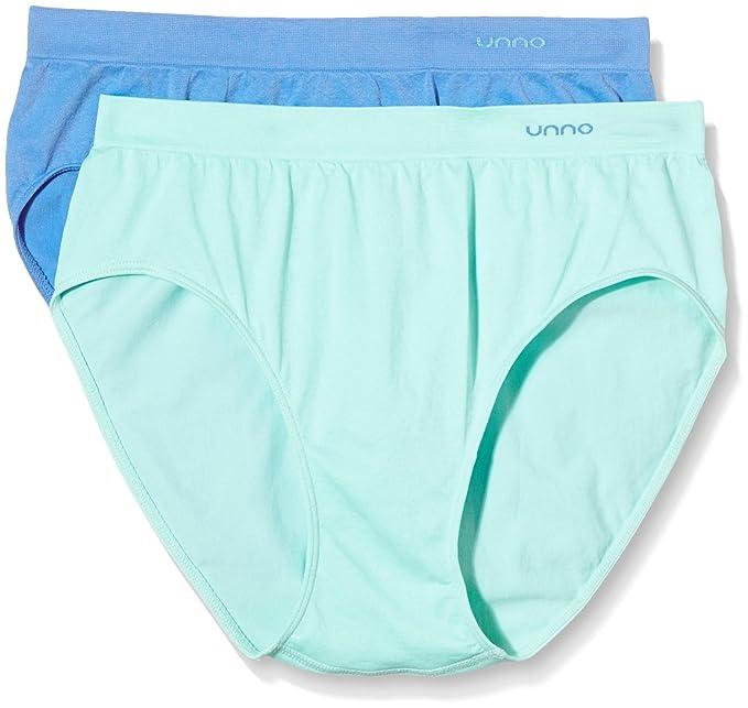 Unno DIM Basic AUUM302, Braga Alta sin Costuras Microfibra para Mujer, Verde Agua/