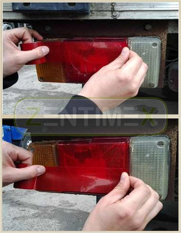 Klebeband Klebe Reparatur Band Brüche Autolampen Autoleuchten Scheinwerfer Rückleuchten Standlicht Abblendlicht Nebelschlussleuchte Warnblinker Parklicht Rechts Links Hinten 48x1 52mmxm Red Rot Auto