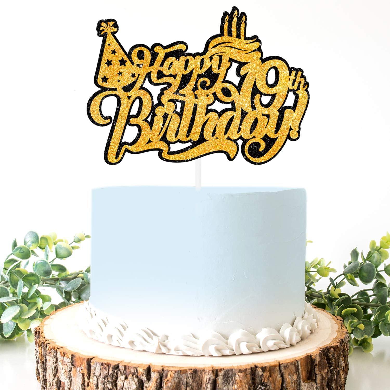 Super Amazon Com Aerzetix Birthday Decoration Happy 19Th Birthday Cake Funny Birthday Cards Online Alyptdamsfinfo