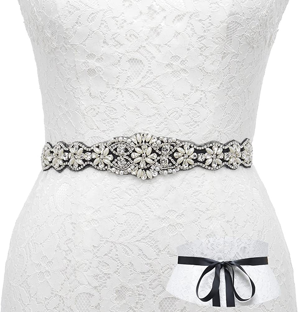 MIA Wide Bridal Sash Pearl Pearls Wedding Dress Floral Bridal Belt Ivory White