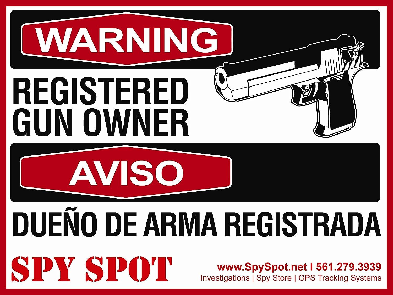 "Spy Spot X Large 15"" x 12"" Registered Gun Owner UV Resistant Weatherproof Set of 2"