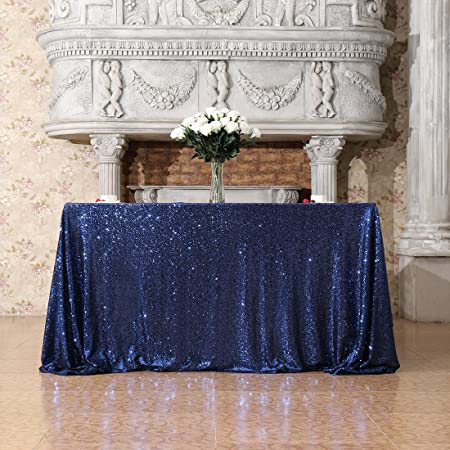 3E Home 175x175cm(70x70 Inches) Navy Blue Sequin Tablecloth Square Table  Overlay Wedding Party