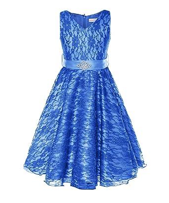 48a730c18e429 ReliBeauty – Fille Robe en dentelle floral sans manches Robe élégante pour  party mariage