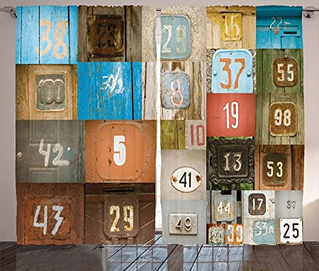 Wanderlust Decor Curtains Rusty Metal Apartment Placards Nostalgic