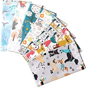 "Picheng 7pcs Cute Animals Cat Dog Fat Quarters Fabric Bundles19.6"" x 19.6"" Cotton Fabric Whale Bear Cartoon Printed Quilting Fabric Bundles for Home Décor Clothing Craft Sewing Material"