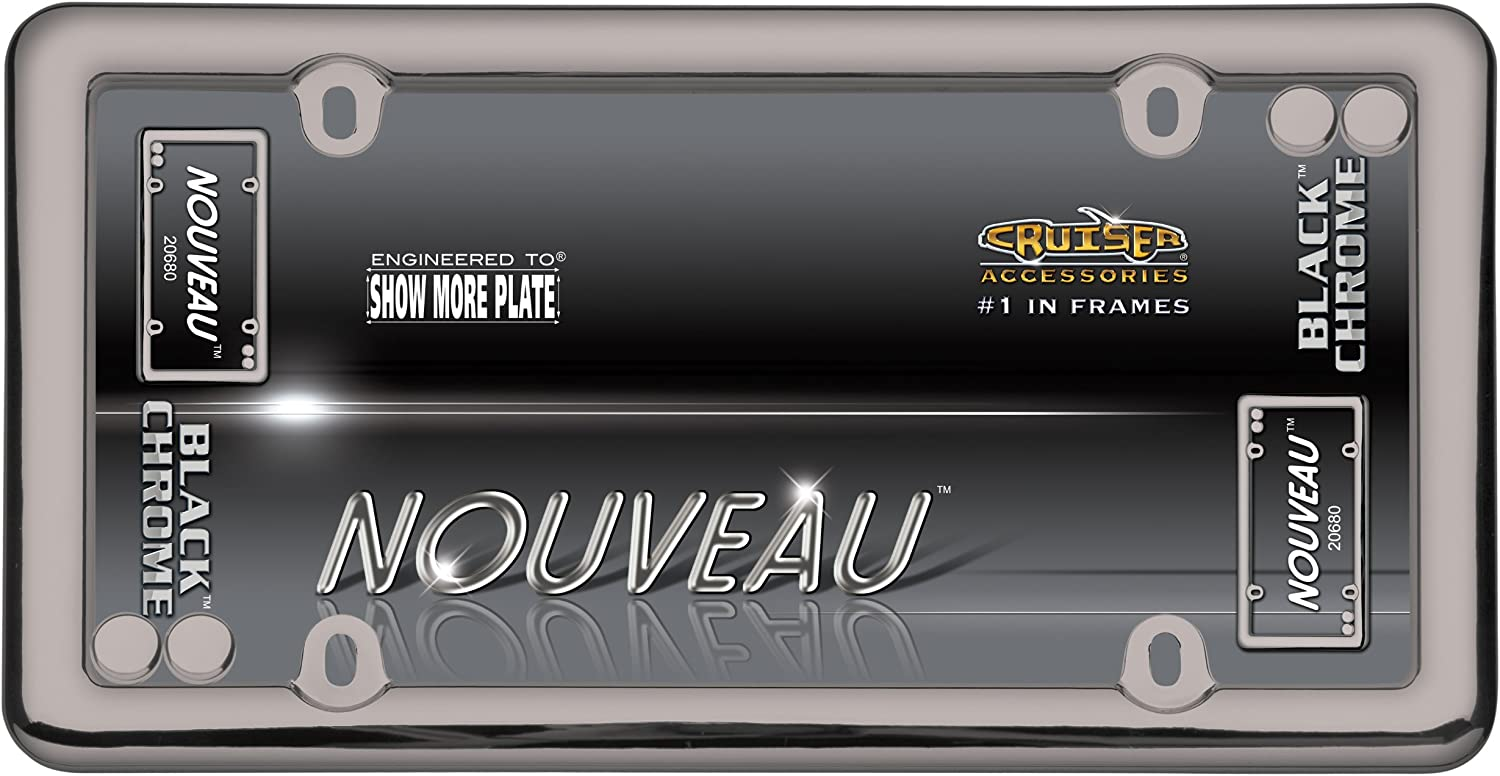 Chrome w//fastener caps Cruiser Accessories 20630 Nouveau License Plate Frame