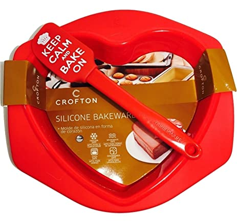 "Novelty Heart-shaped Red Silicone Baking Pan & Spatula That Says ""Keep Calm"