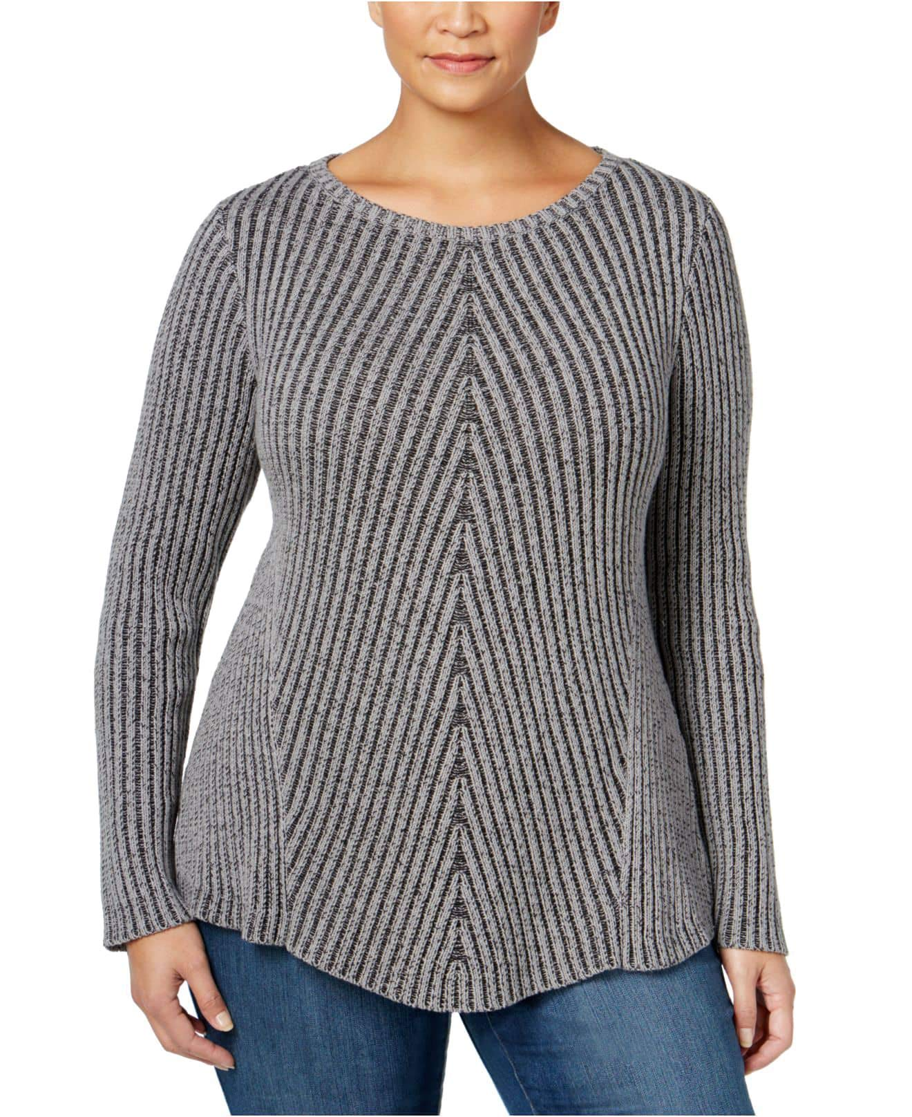 Style & Co. Womens Plus Ribbed Knit Boatneck Pullover Sweater Gray 1X