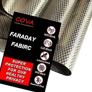 Faraday Fabric, 44'' 36'' Shielding Fabric, Radiation Blocking, EMI Isolation, WiFi and Cell Signal Blocking,Copper Faraday Cage Enclosure(1 Yard,4436 inch)