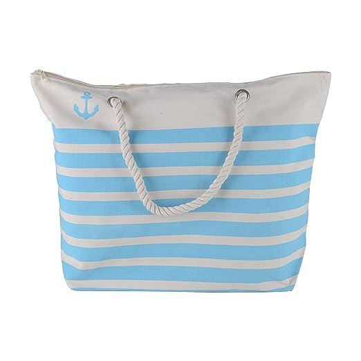 1efabd529 Amazon.com: Canvas Heavy Cotton Rope Handles Stripe Zipper Closure Women  Premium Straw Beach Tote Bag by BB (Turquoise): Clothing