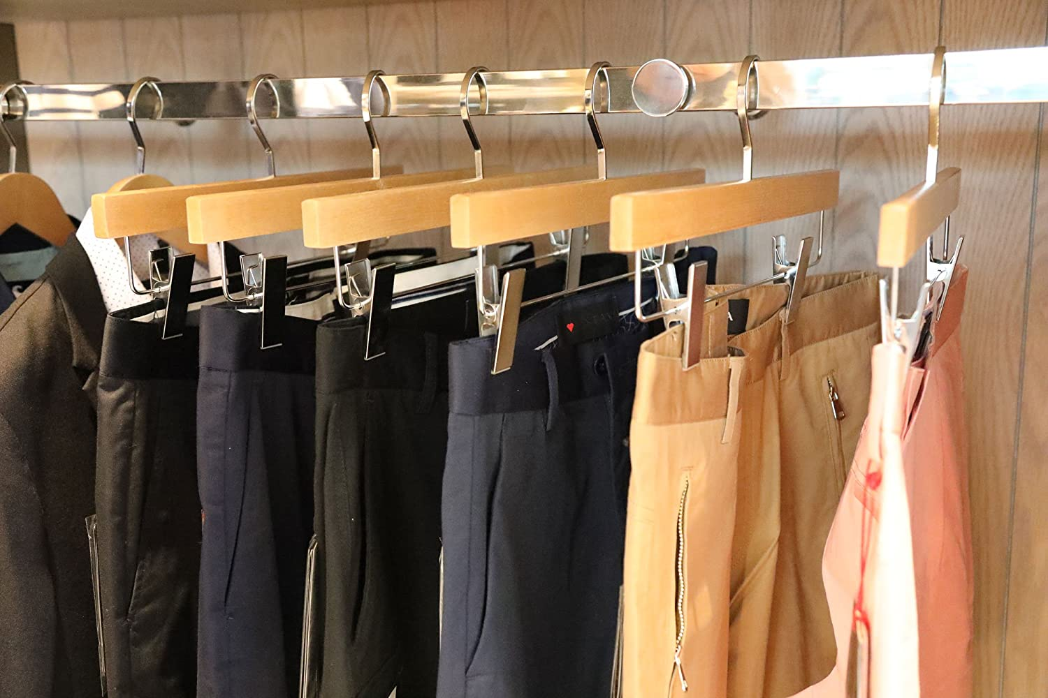 Luxury Wood Skirt Hangers TOPIA HANGER 20-Pack Cherry Wooden Pants Hangers Glossy Finish with Extra Thick Chrome Hooks /& Anti-Wrinkle Clips CT03M Craftopia INC.