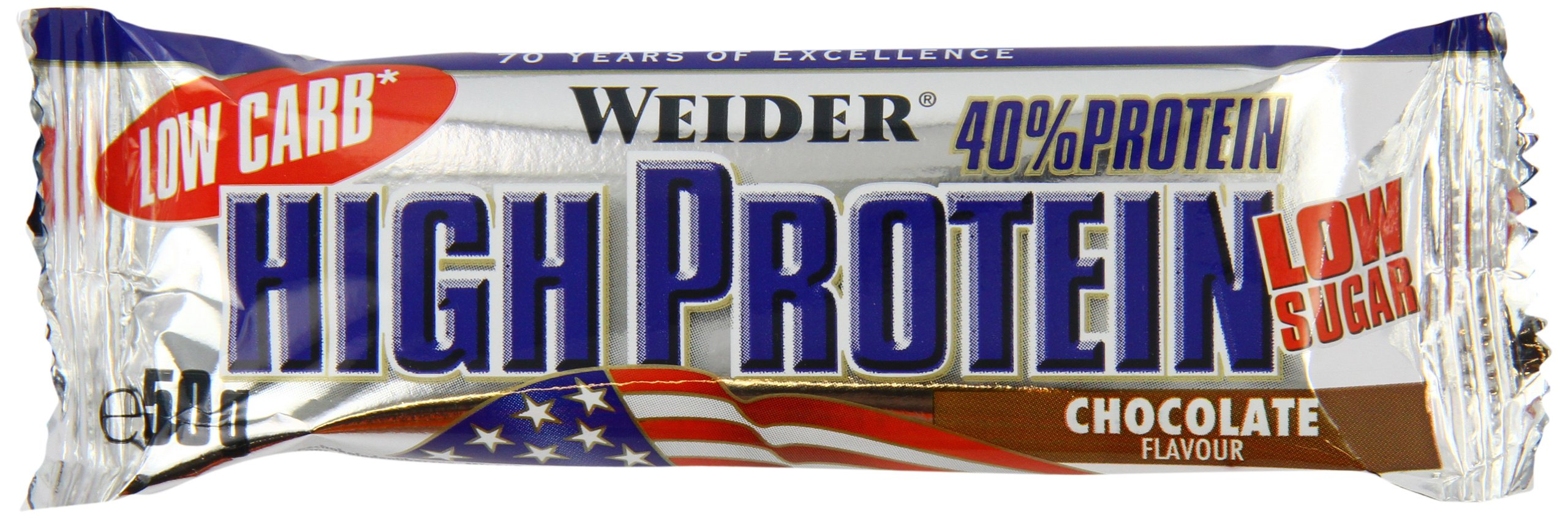 Weider Low Carb High Protein Bar, Schoko, 24 x 50 g (1 x 1.25 kg) product image