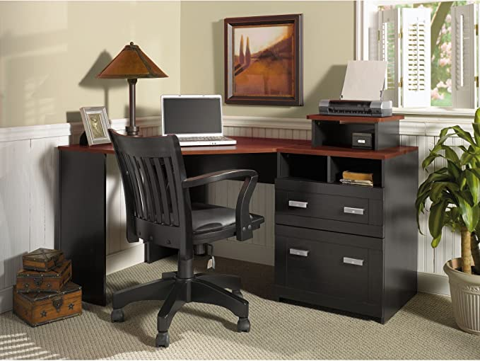 Bush Furniture Wheaton Reversible Corner Desk Antique Black Hansen Cherry Furniture Decor