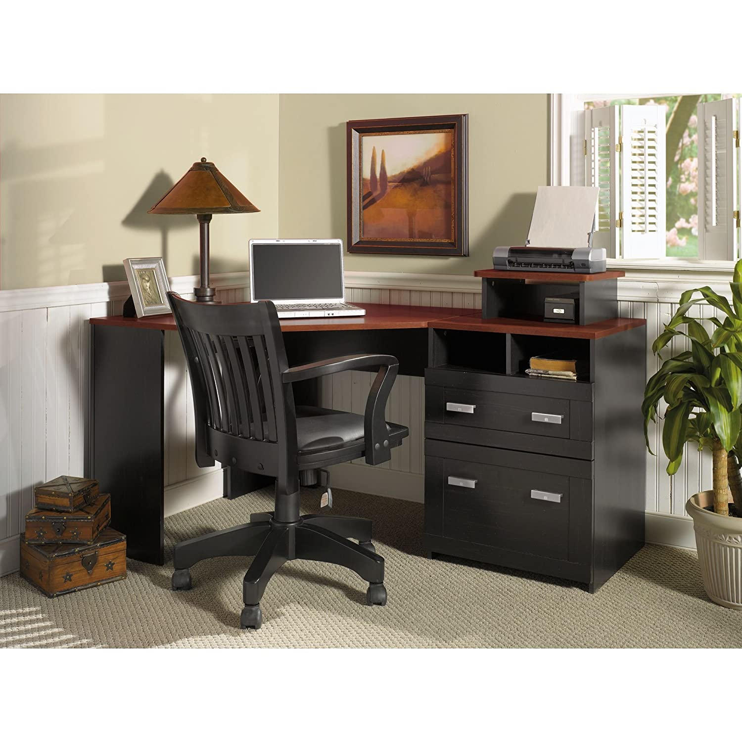 Wheaton Collection Reversible Corner Desk with Printer Stand