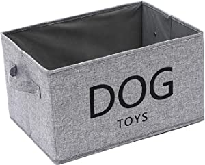 Linen-Cotton Blend Dog Storage bin, Dog Toy Basket, Storage Bins for Dog Toys - Perfect for Organizing Pet Toys, Blankets, Leashes and Food