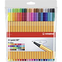 Stylo feutre pointe fine - STABILO Point 88 - Pochette de 40 stylos-feutres - Coloris assortis