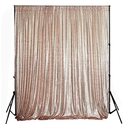TRLYC 8FTx8FTRose Gold Sparkly Photo Booth Backdrop Sequin Choose Your Size Rose Fabric