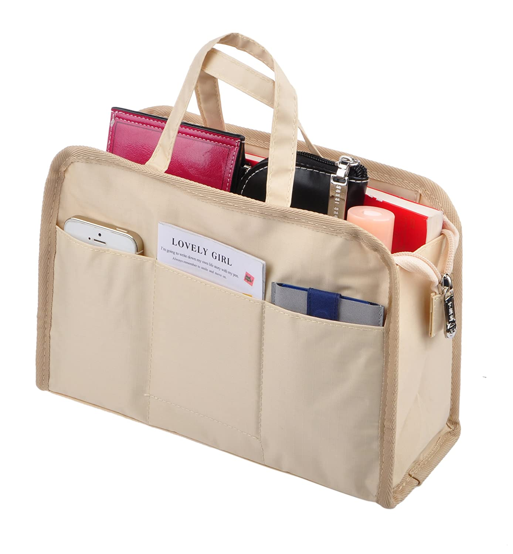 Beige Handle Vercord Sturdy MultiPocket Insert Handbag Bag Organizer Waterresistant Large Zipper Bag In Bag