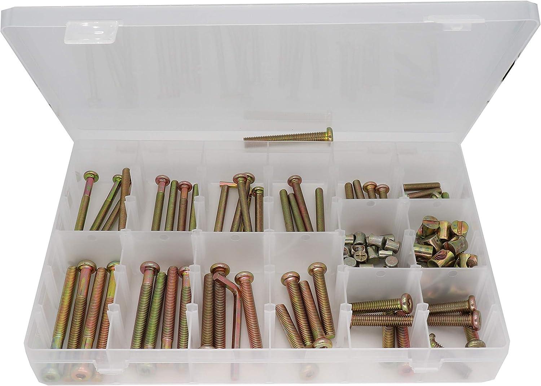 binifiMux Crib Hardware Screws, 100pcs M6 / M8 x 30mm/ 40mm/ 50mm/ 60mm/ 70mm/ 80mm Hex Drive Socket Cap Bolts Barrel Nuts Assortment Kit for Cot Crib Bed Chairs, Zinc Plated