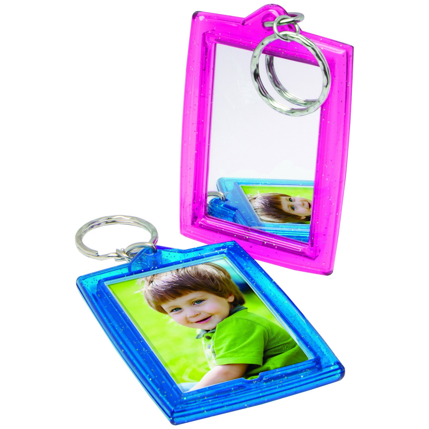 Teal Sparkle 1-3/4'' x 2-3/4'' Photo Keychains with Mirror - Case of 144 by Snapins