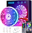 JESLED WiFi LED Strip Lights for Bedroom 5m, Compatible with Alexa and Google Home, Smart Led Strip Lights with 44 Keys RF Remote Controller,Smart Led Lights for Home TV, Party, Decoration