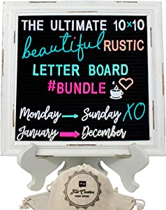 Rustic Felt Letter Board Ultimate Bundle Farmhouse Vintage White Wood Frame and Stand by Felt Creative Home Goods (Black, 10x10 Inches) Changeable Message Board 800+ Letter Set Numbers Emoji Cursive