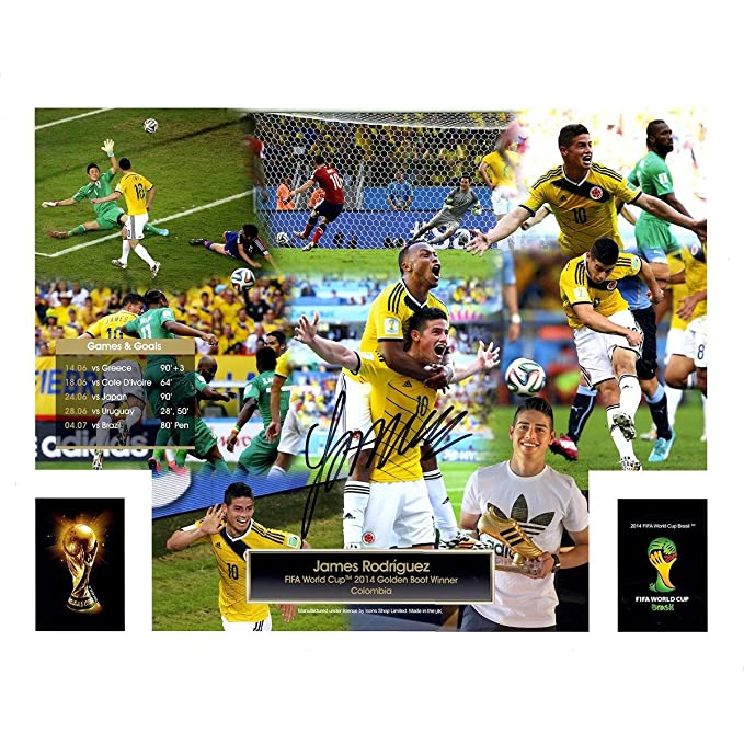 da5ab86d004 Amazon.com: James Rodriguez Signed FIFA 2014 World Cup Golden Boot Winner  16x20 Photo (Icons Auth & Third Party Holo): Home & Kitchen