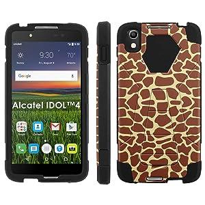 Alcatel One Touch IDOL 4 [Nitro 4/49] Phone Cover, Giraffe Print - Black Hexo Hybrid Armor Phone Case for Alcatel One Touch IDOL 4 [Nitro 4/49]