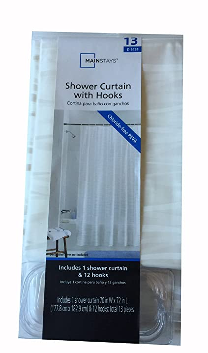 Mainstays Shower Curtain With Hooks White Oasis