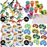 84 Piece Kids Dinosaur Toy Kit - Includes Mini Figures, Masks, Stamps, And Sticker Tattoos (Great As Dinosaur Party Supplies & Dinosaur Party Favors)