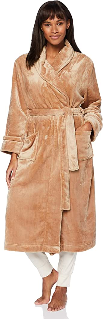 Marca Amazon - IRIS & LILLY Long Plush Dressing Gown Mujer