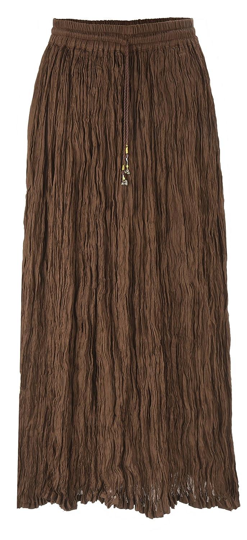 IkコレクションLong Solid Color Broomスカート B01MS7XH8A ブラウン ブラウン