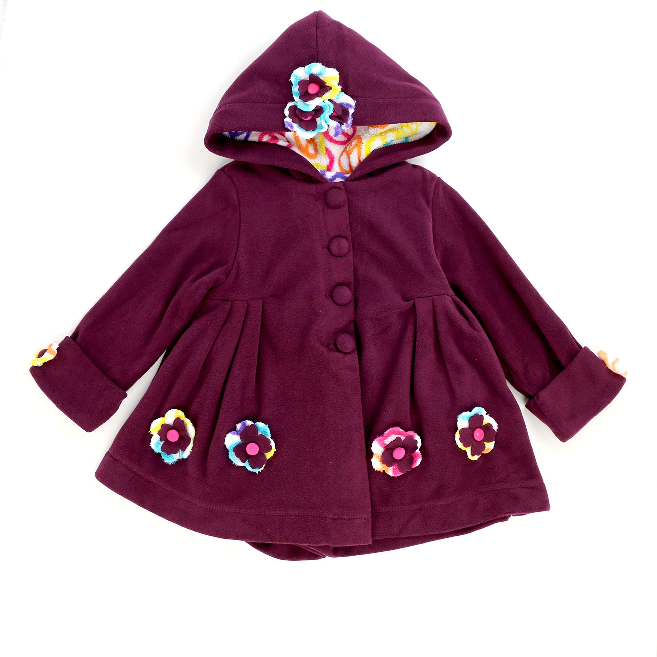 Maria Elena - Toddlers and Girls Carrie Peace and Love Hooded Fleece Jacket in Wild Orchid 7/8