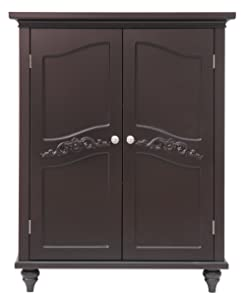 Elegant Home Fashion Vera 2-Door Floor Cabinet, Dark Espresso