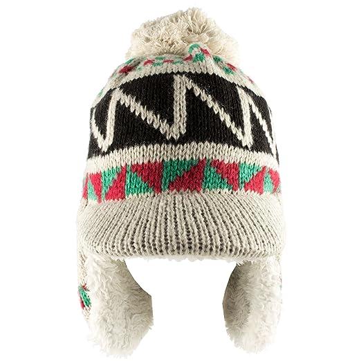 Morehats Zig Zag Knit Pom Pom Trapper Beanie Cap Winter Ski Warm Hat - Beige df212df14e87