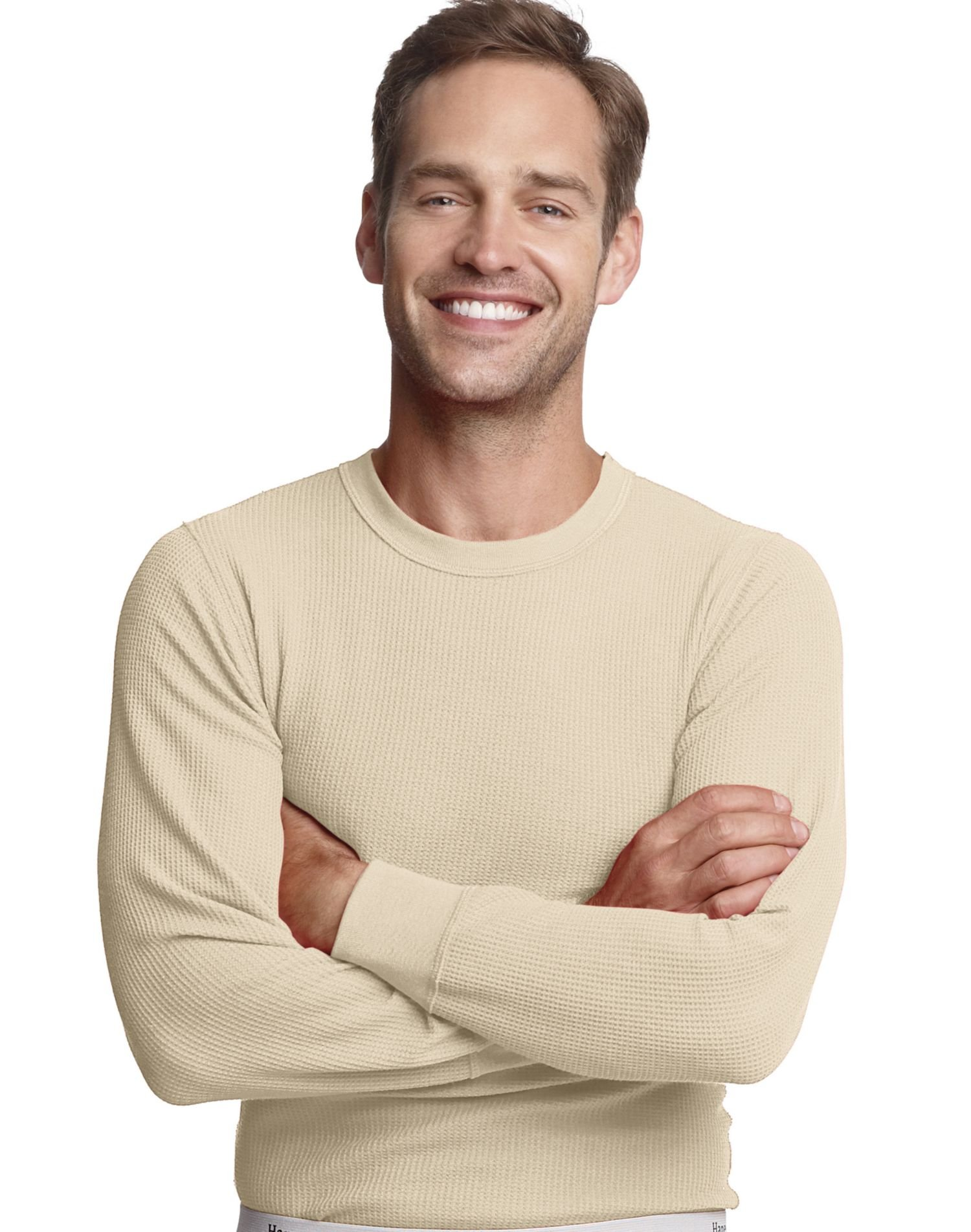 Hanes Men's X-Temp Thermal Longsleeve Crew Top, Natural, X-Large by Hanes