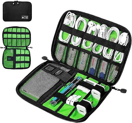 DAMIGRAM Accesorios Electrónicos Bolsa De Viaje Impermeabile de Nylon Organizador de Cable Electrónico para USB Cables, Disco Flash, Cargador, Banco de Energía: Amazon.es: Electrónica